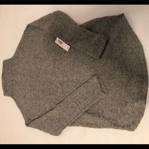 Textured Plush-Knit Funnel-Neck Sweater